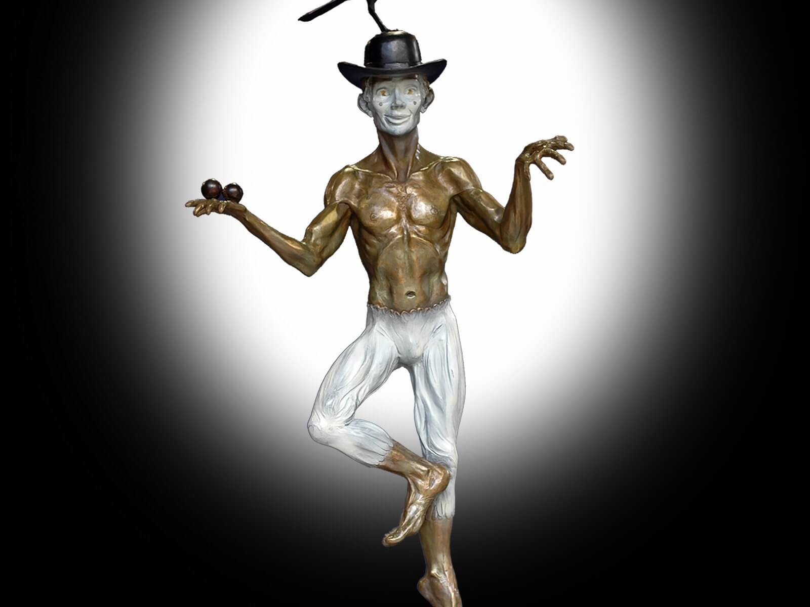 The Juggler, a bronze juggling mime sculpture by Andrew DeVries, copyright 2004.