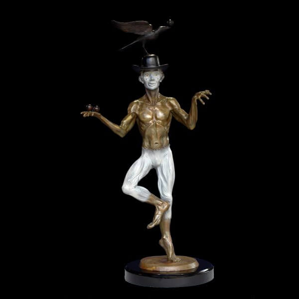 The Juggler a figurative bronze juggler sculpture by sculptor Andrew DeVries