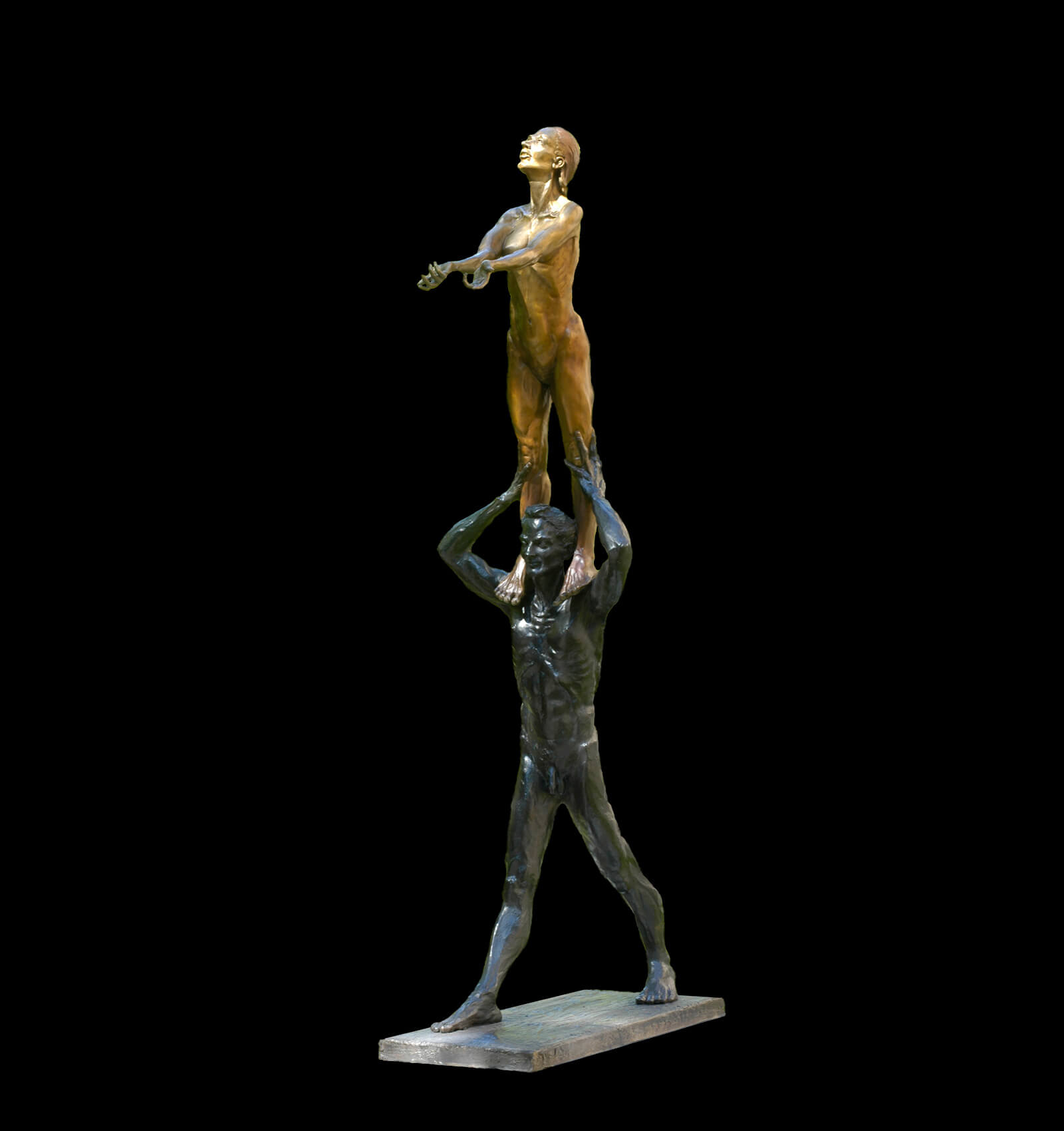 The Seed half life size figurative bronze sculpture by Andrew DeVries