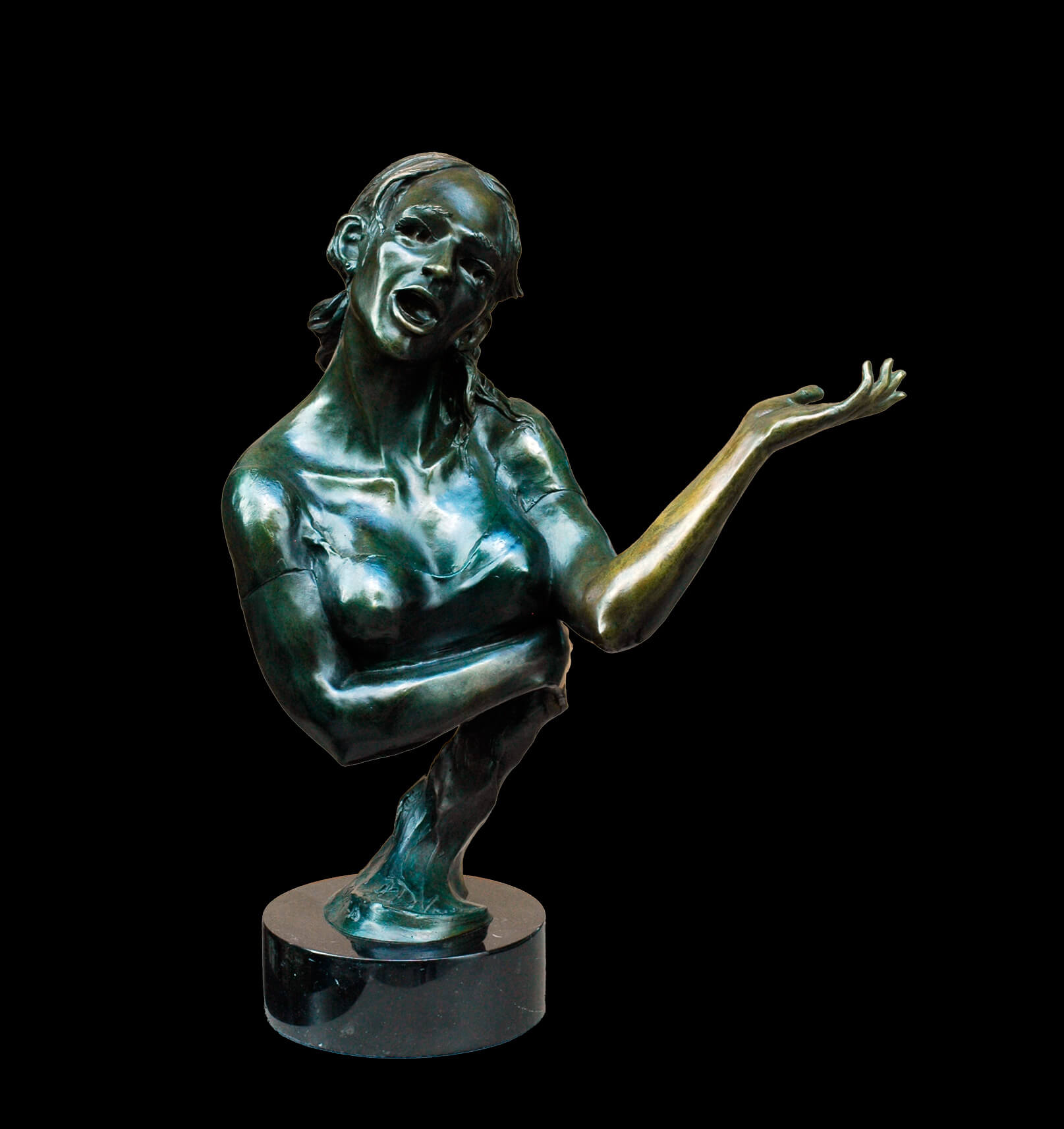 The Singer a female singer bronze figurative sculpture by Andrew DeVries