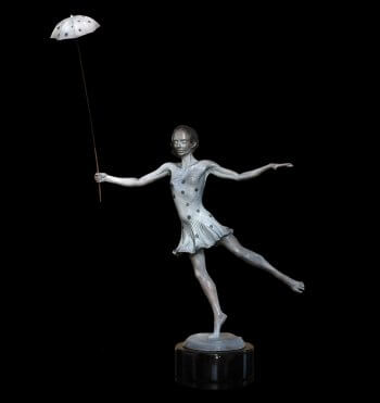 Rain or Shine a bronze figurative female tightrope artist sculpture by Andrew DeVries