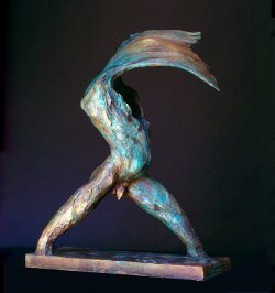 The Wave abstract figurative bronze sculpture by Andrew DeVries