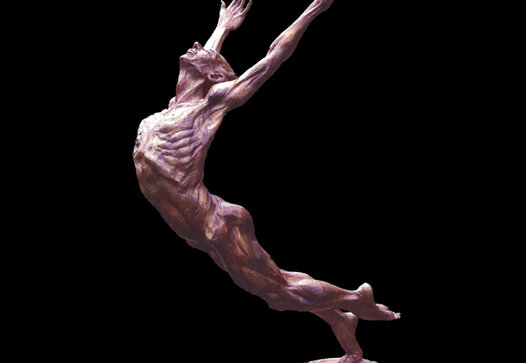 This Man who Flies a large male bronze dance sculpture by Andrew DeVries