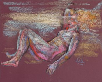 Trance Dance an original pastel painting of a female nude by Andrew DeVries copyright 2009