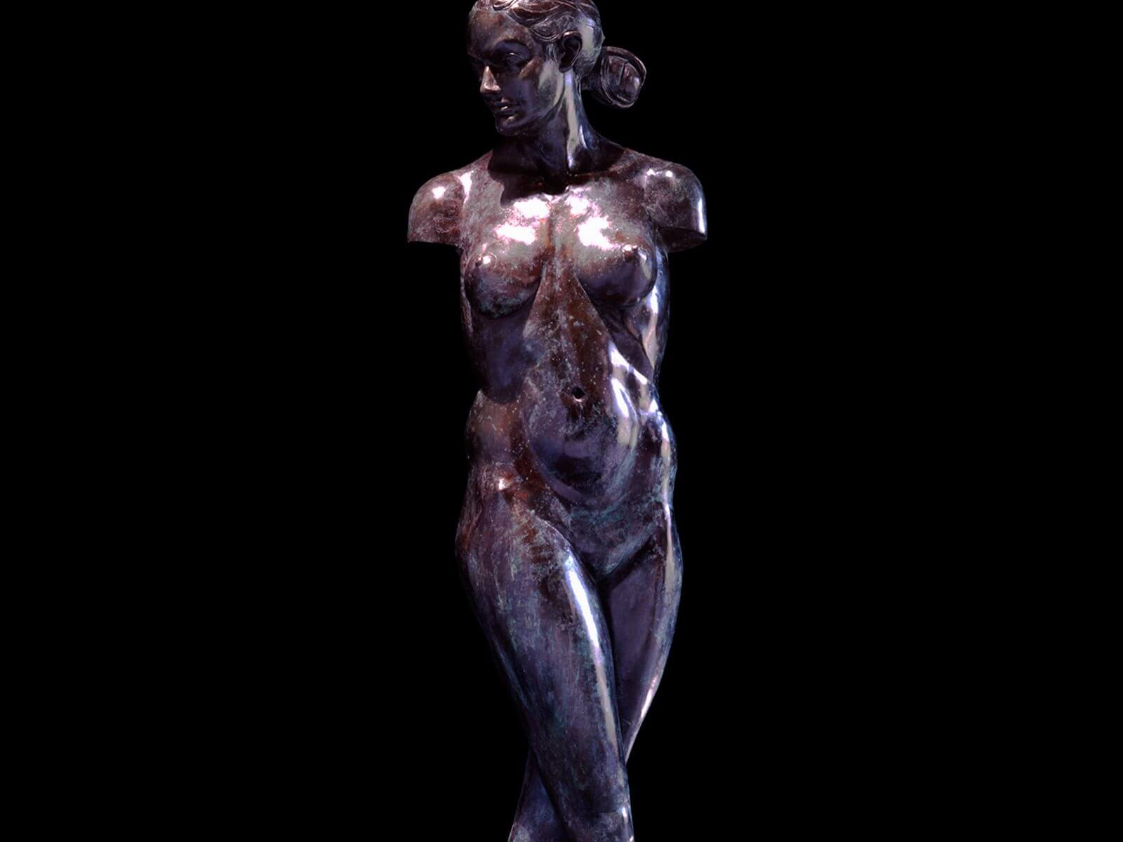 venus Torso a lifesize female nude torso bronze figurative sculpture by Andrew DeVries