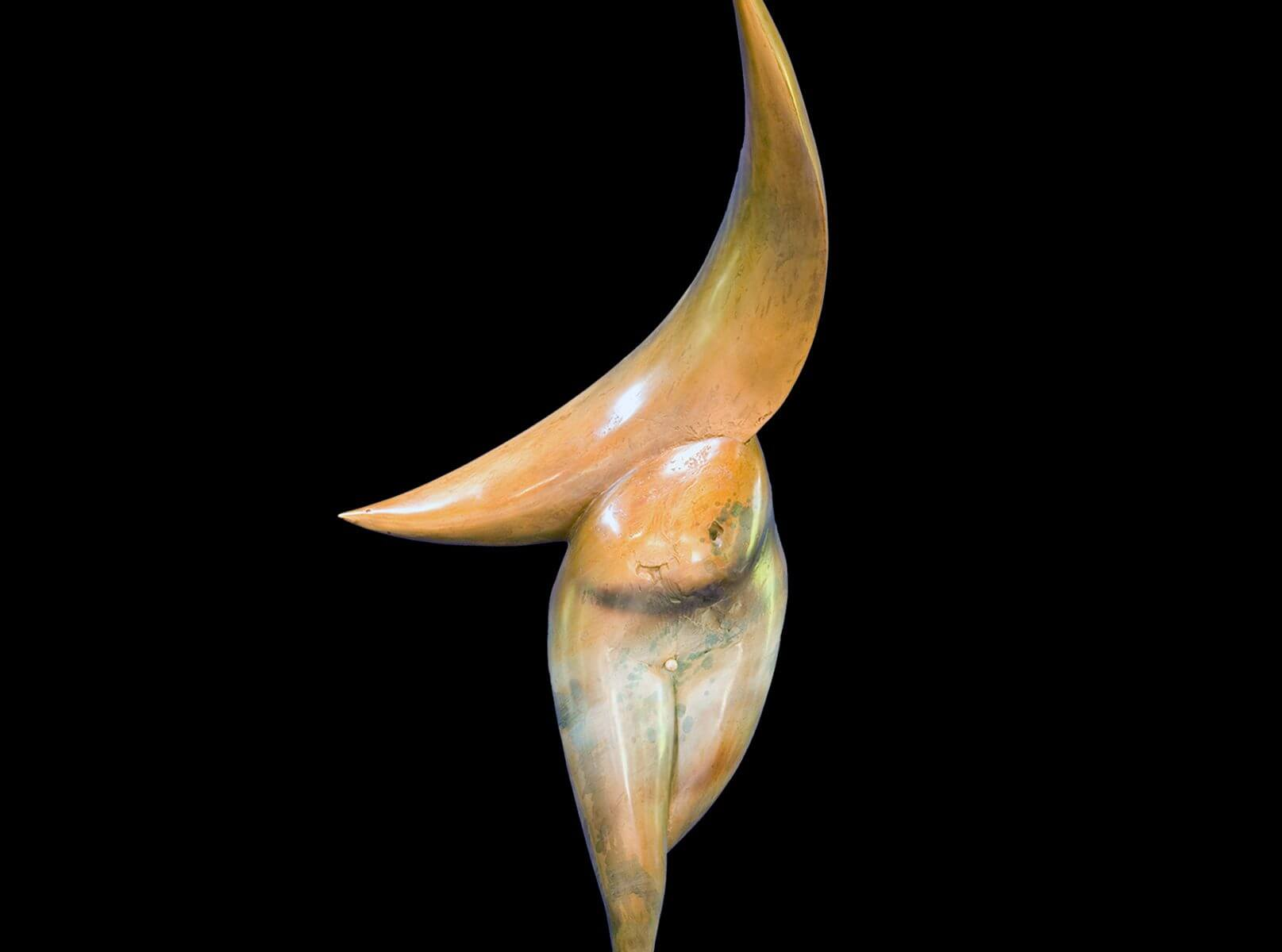 Venus et Luna a figurative abstract bronze sculpture by Andrew DeVries