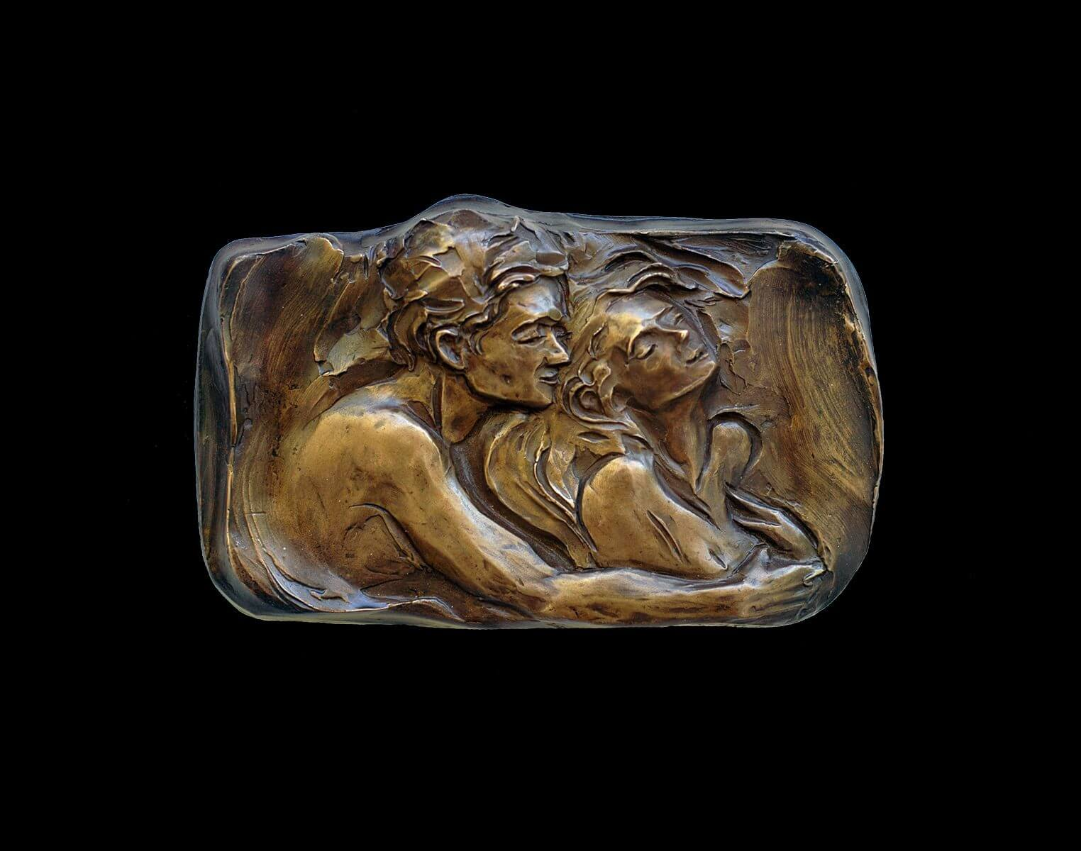 Whispers a bronze figurative relief wall sculpture by Andrew DeVries