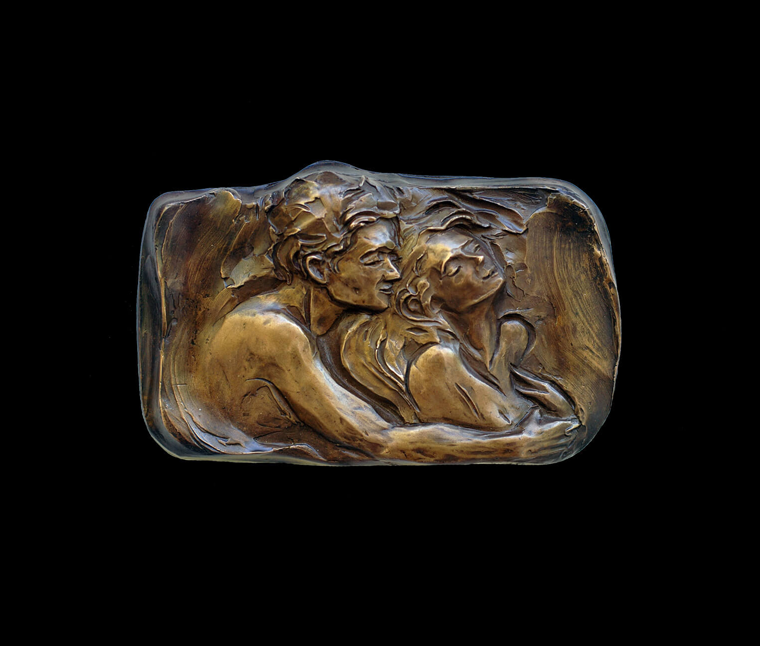 Whispers a romantic small relief figurative sculpture by Andrew DeVries