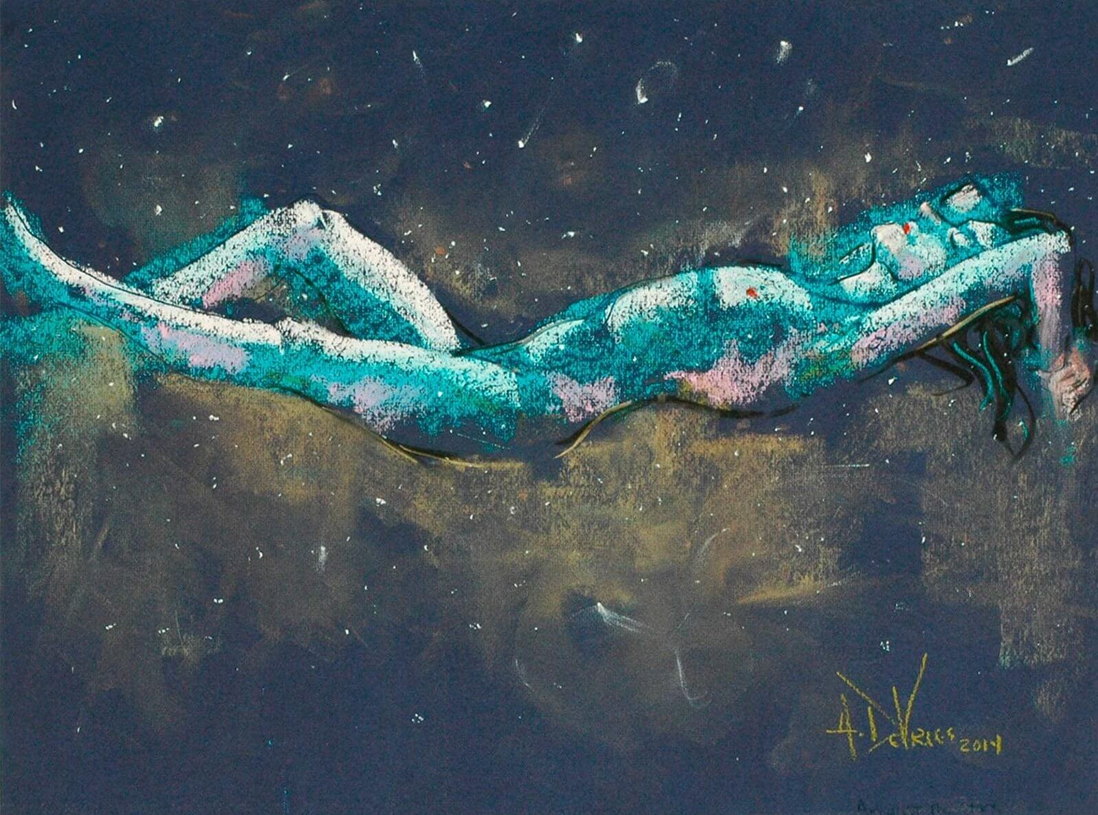 Amongst the Stars a figurative pastel painting of a live model by Andrew DeVries