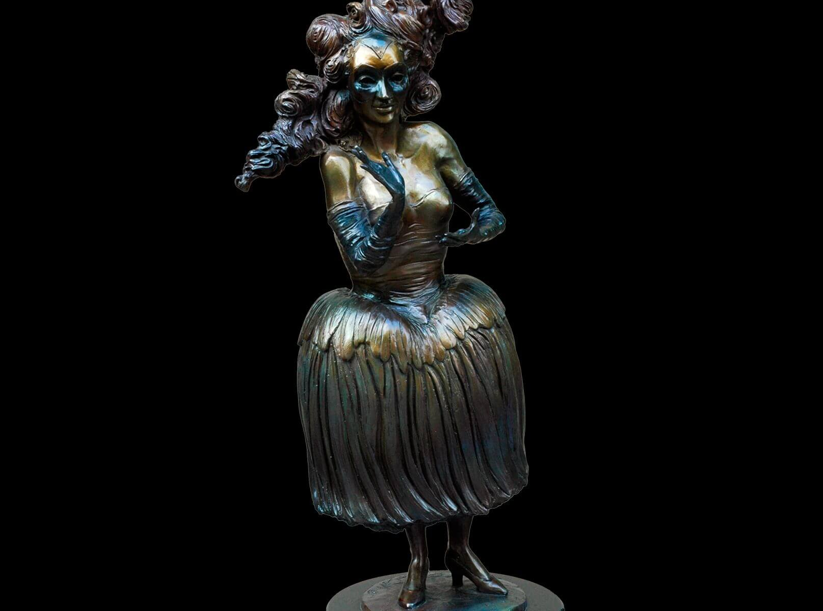 Key to my Heart a female bronze circus figurative sculpture by Andrew DeVries