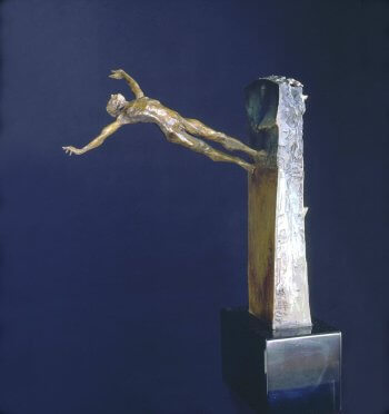 Strange Land a figurative abstract bronze sculpture by Andrew DeVries