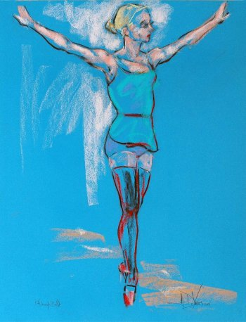 Soar a dance pastel painting by Andrew DeVries created from a sketch done at the Pittsburgh Ballet Theatre studios. Copyright 2011.
