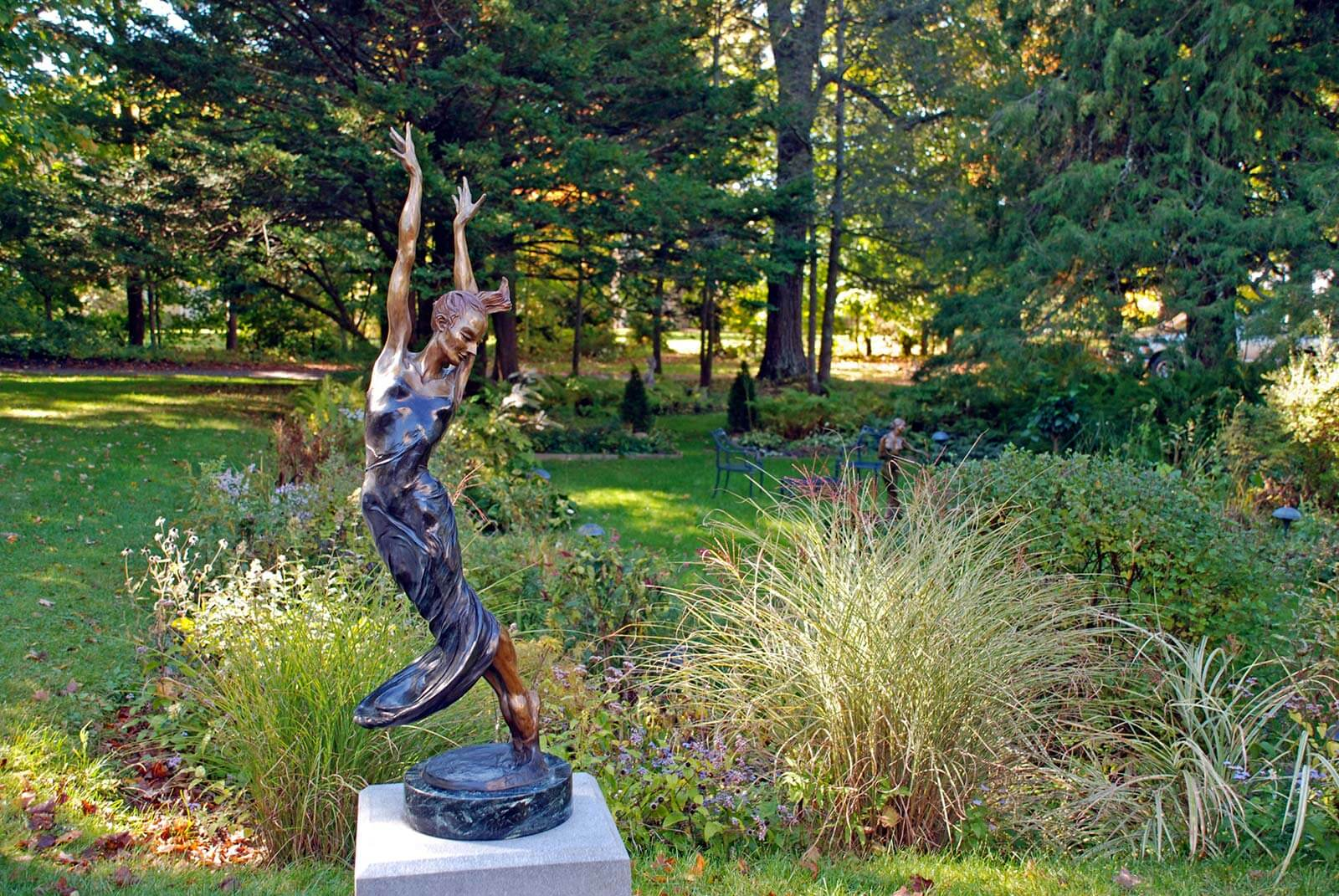 Allegro bronze dance sculpture at Bee and Thistle Sculpture Grounds during sculptor Andrew DeVries's solo exhibition