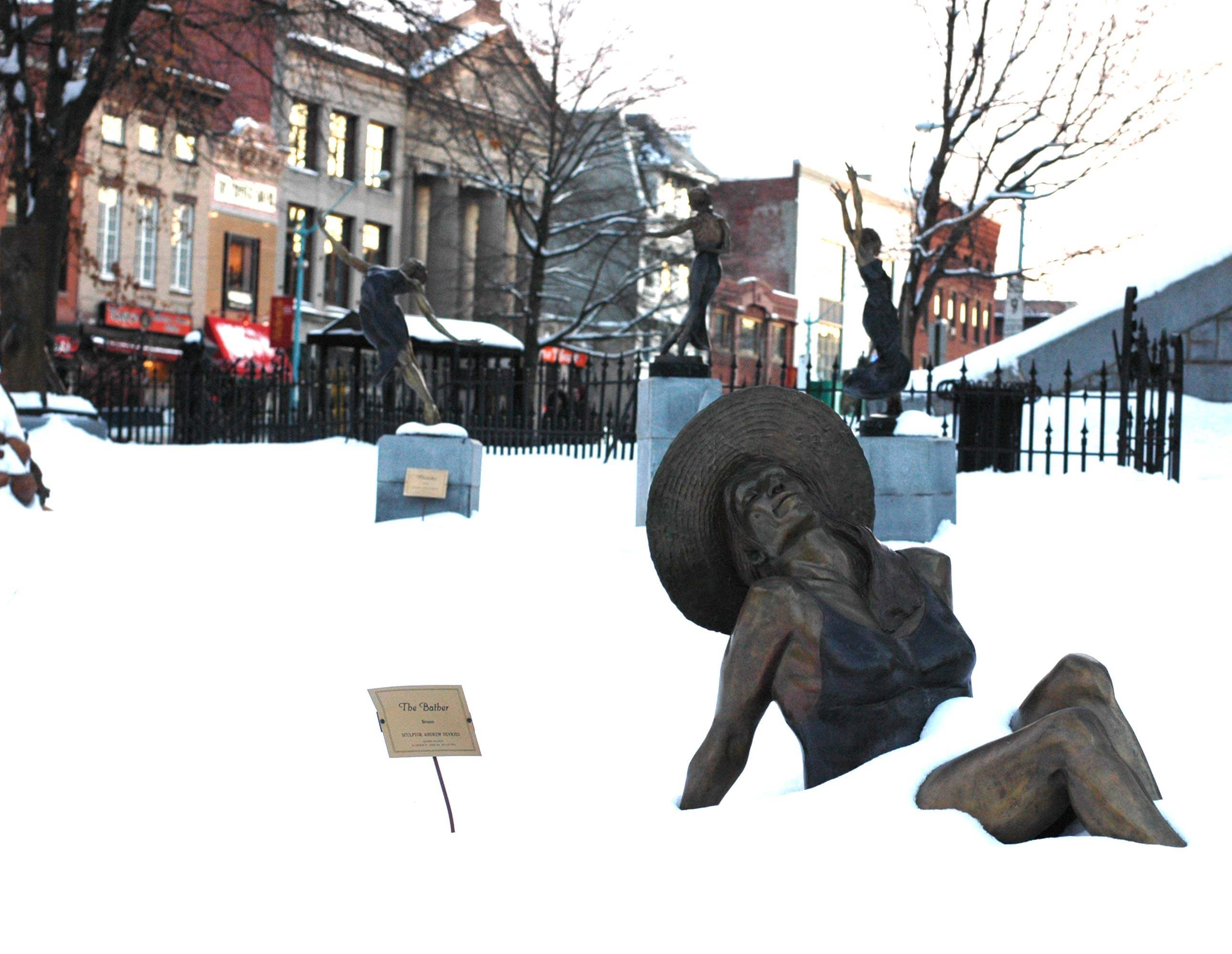 Bronze bather by Andrew DeVries in winter 2008 Northampton MA