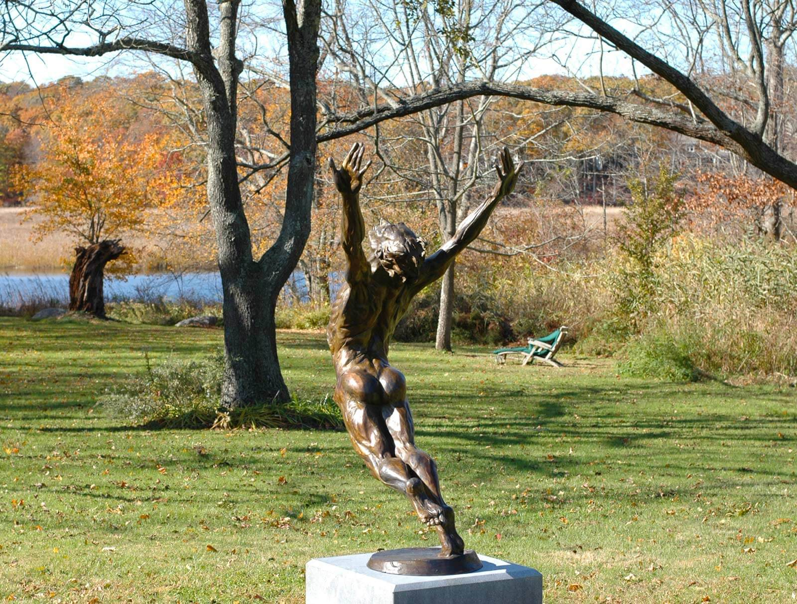 This Man who Flies bronze male dance sculpture by Andrew DeVries