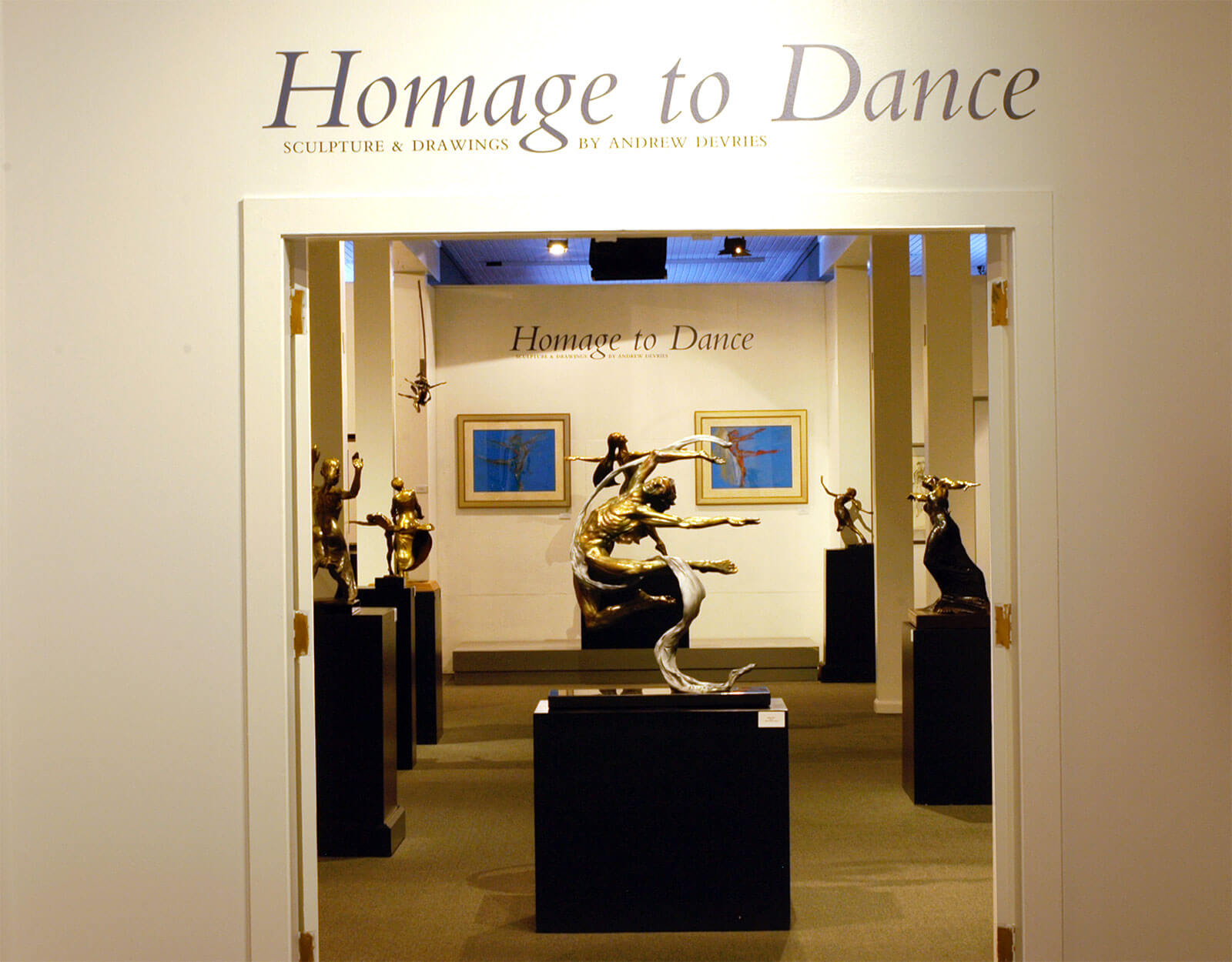 Front entrance to National Museum of Dance 2013 exhbition Homage to Dance by sculptor Andrew DeVries
