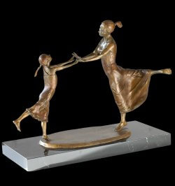 First Dance is a bronze sculpture that depicts a mother and daughter in their first dance together. By Sculptor Andrew DeVries copyright 2011