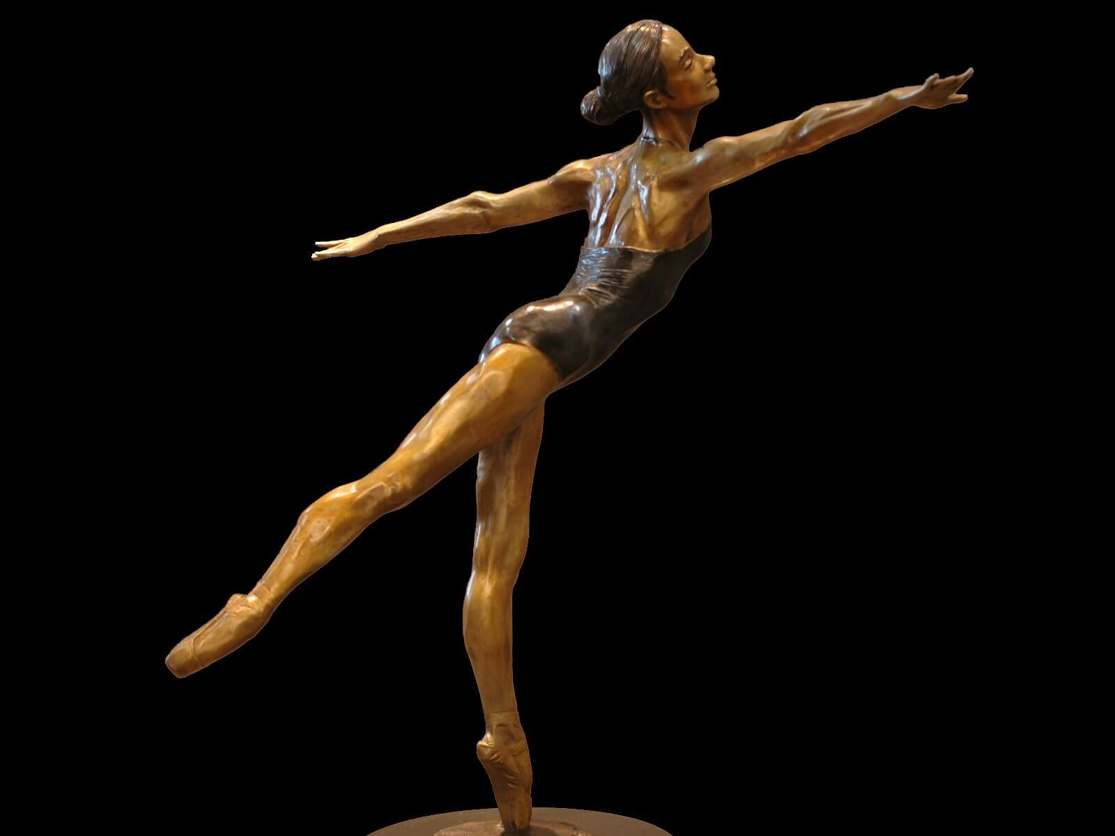 Moment of Grace a bronze female ballet dance sculpture by Andrew DeVries