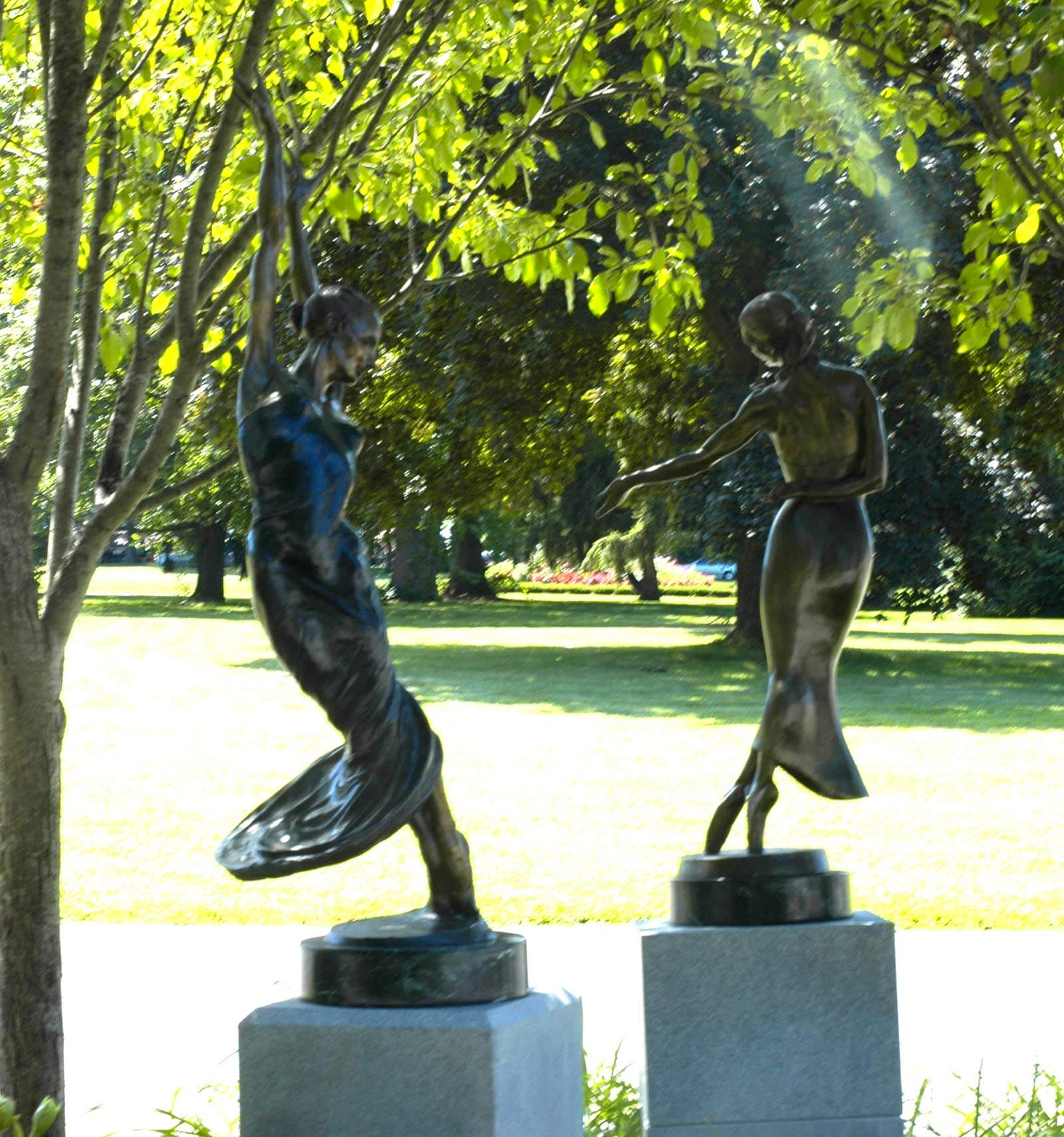 Bronze dance sculptures by Andrew DeVries in the gardens at the National Museum of Dance