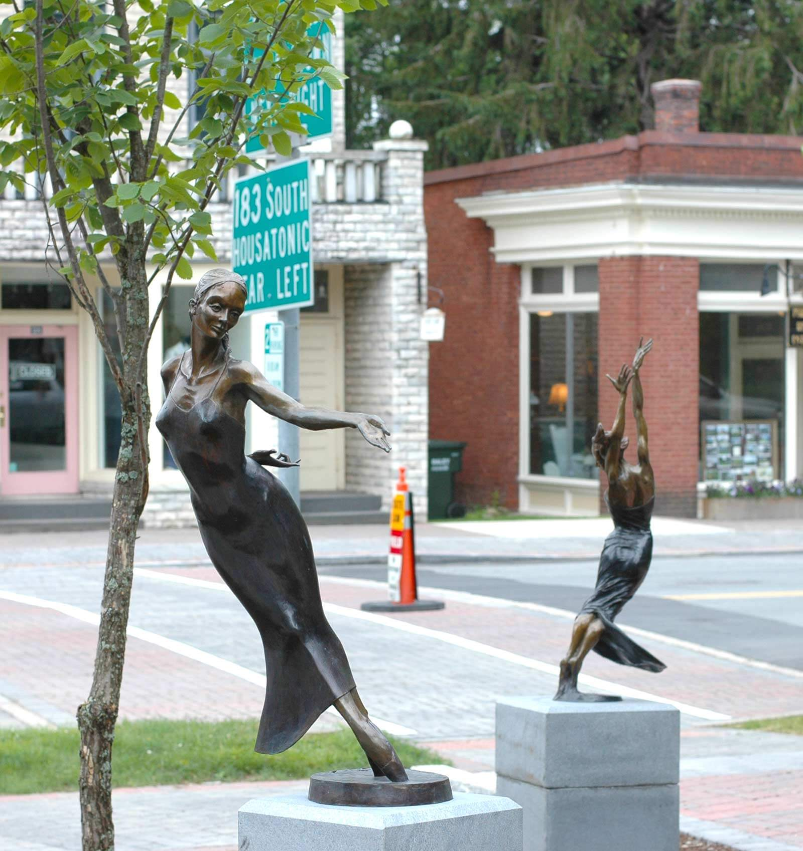 Nocturne and Allegro 2 half life size bronze dance sculptures by Andrew DeVries Lenox MA