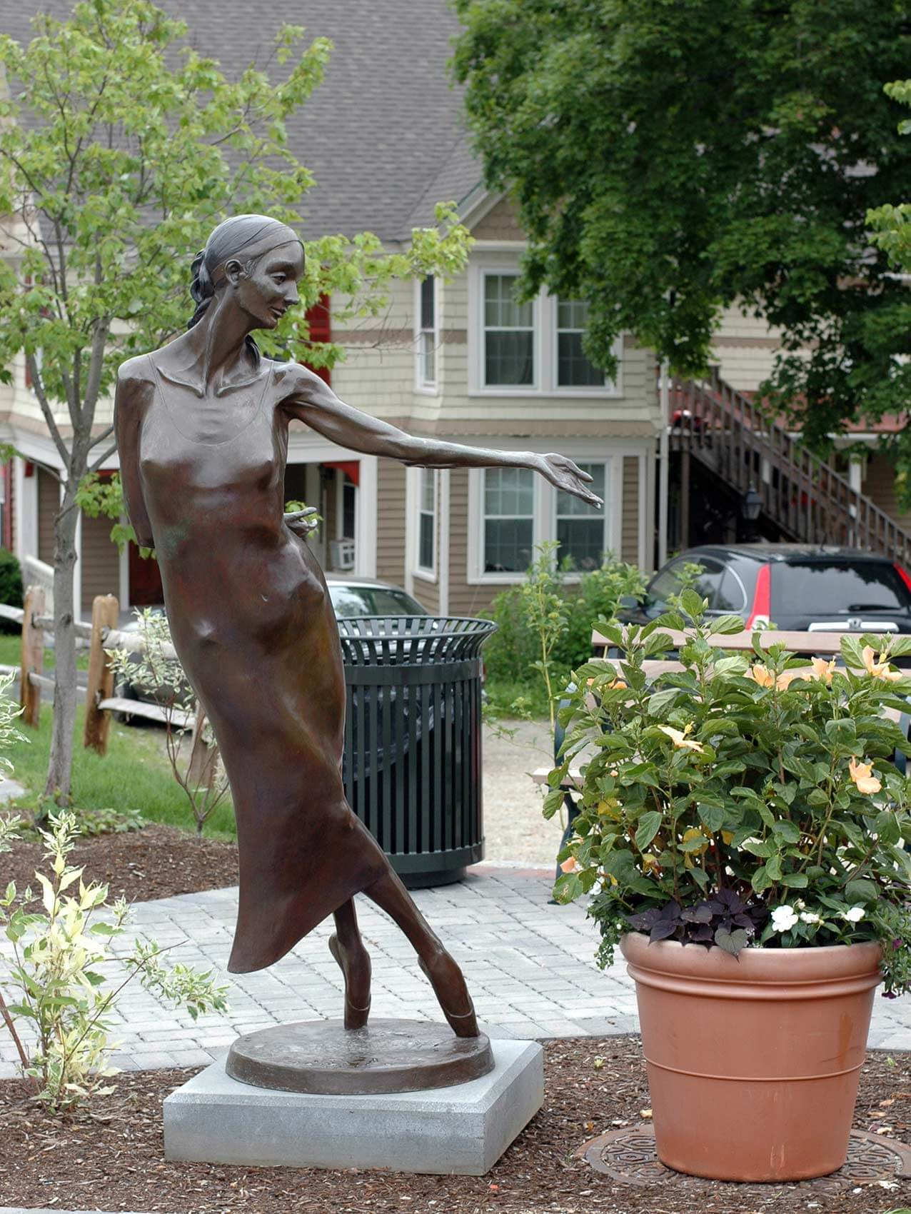 Nocturne life size bronze dance sculpture by Andrew DeVries Lenox Sculpture Walk