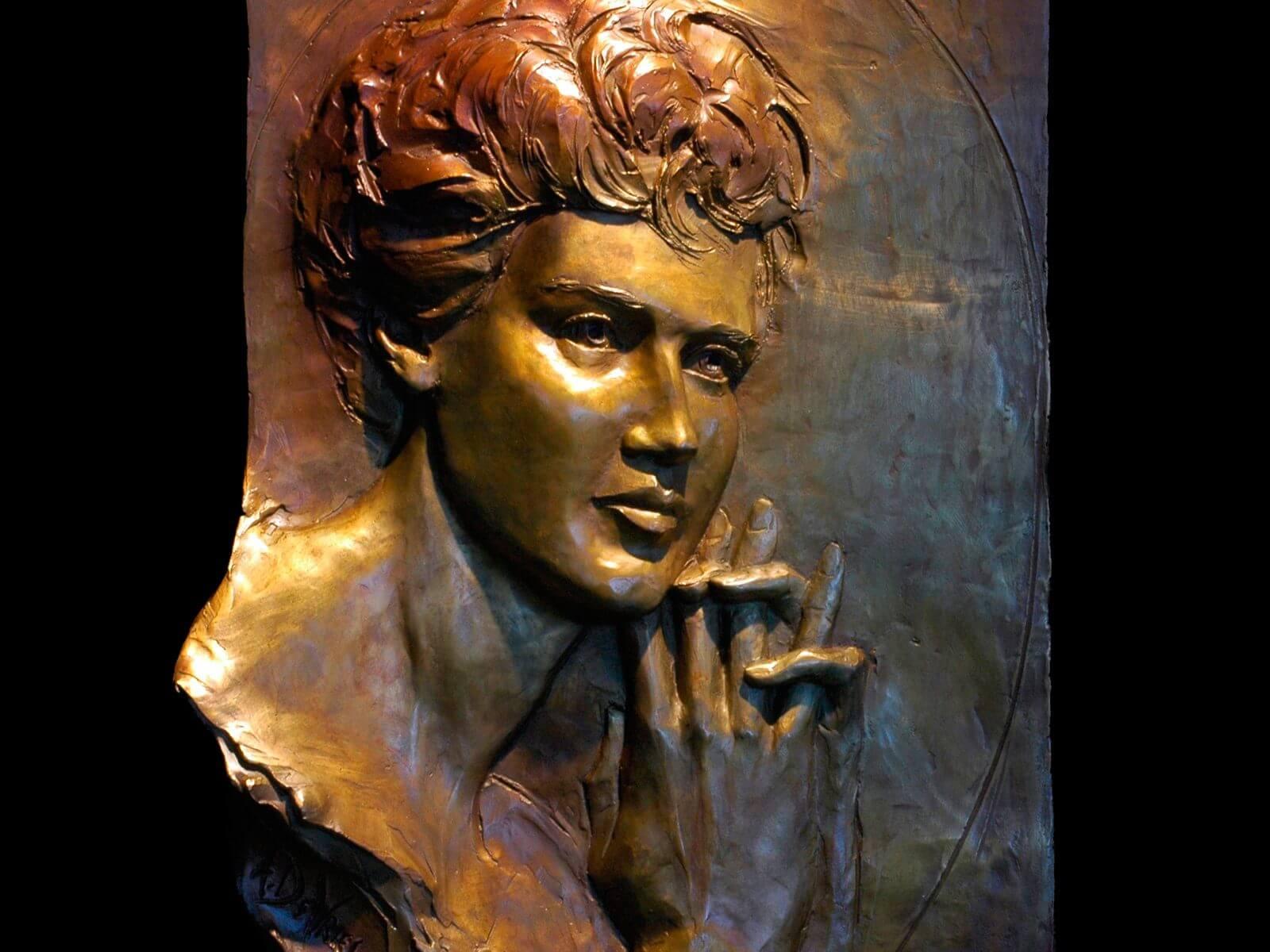 Roberta Mae Rudin portrait in bronze by Andrew DeVries installed at Bouvier Insurance West Hartford, CT