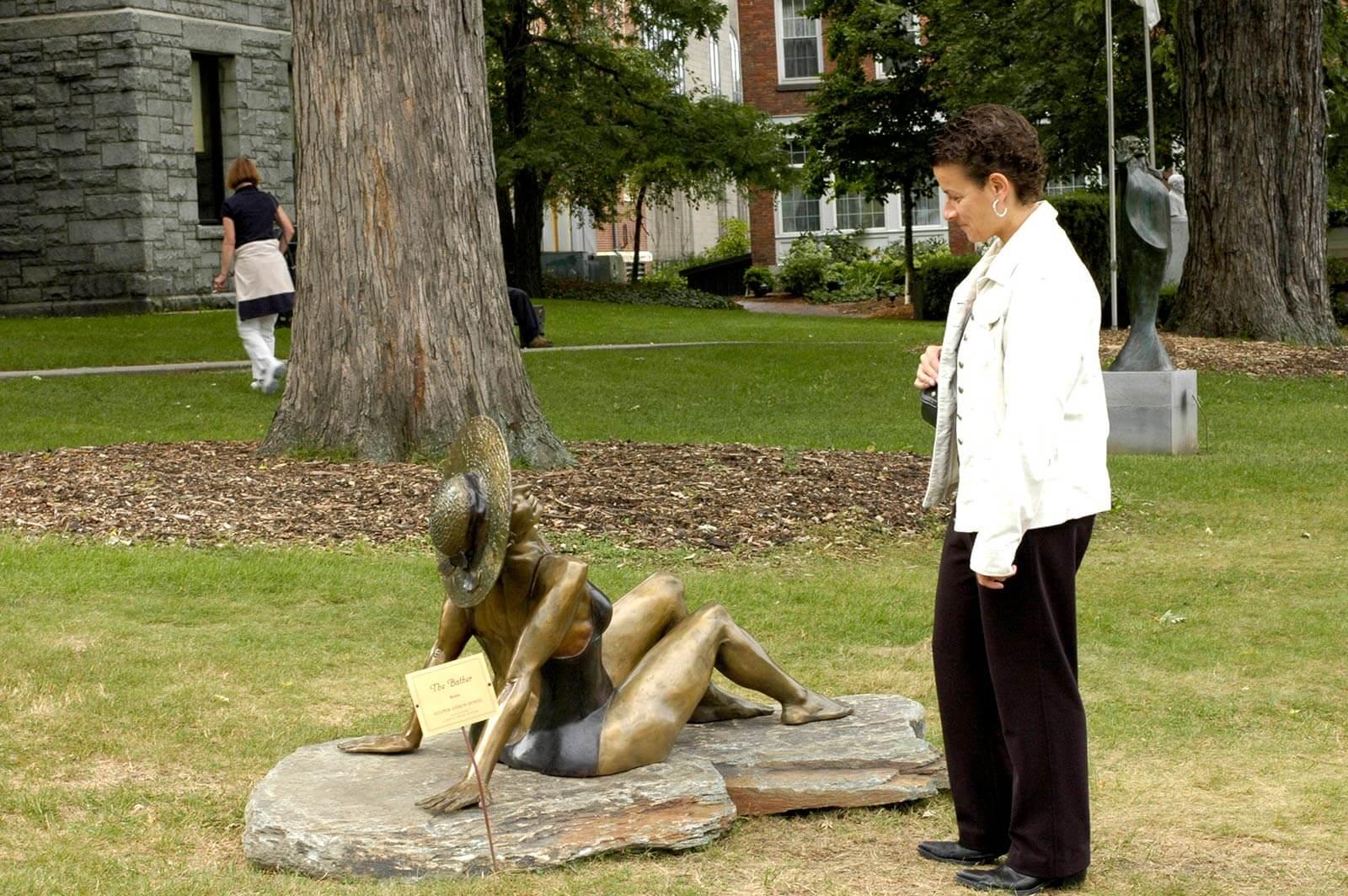 Bronze Bather sculpture by sculptor Andrew deVries in Northhampton MA
