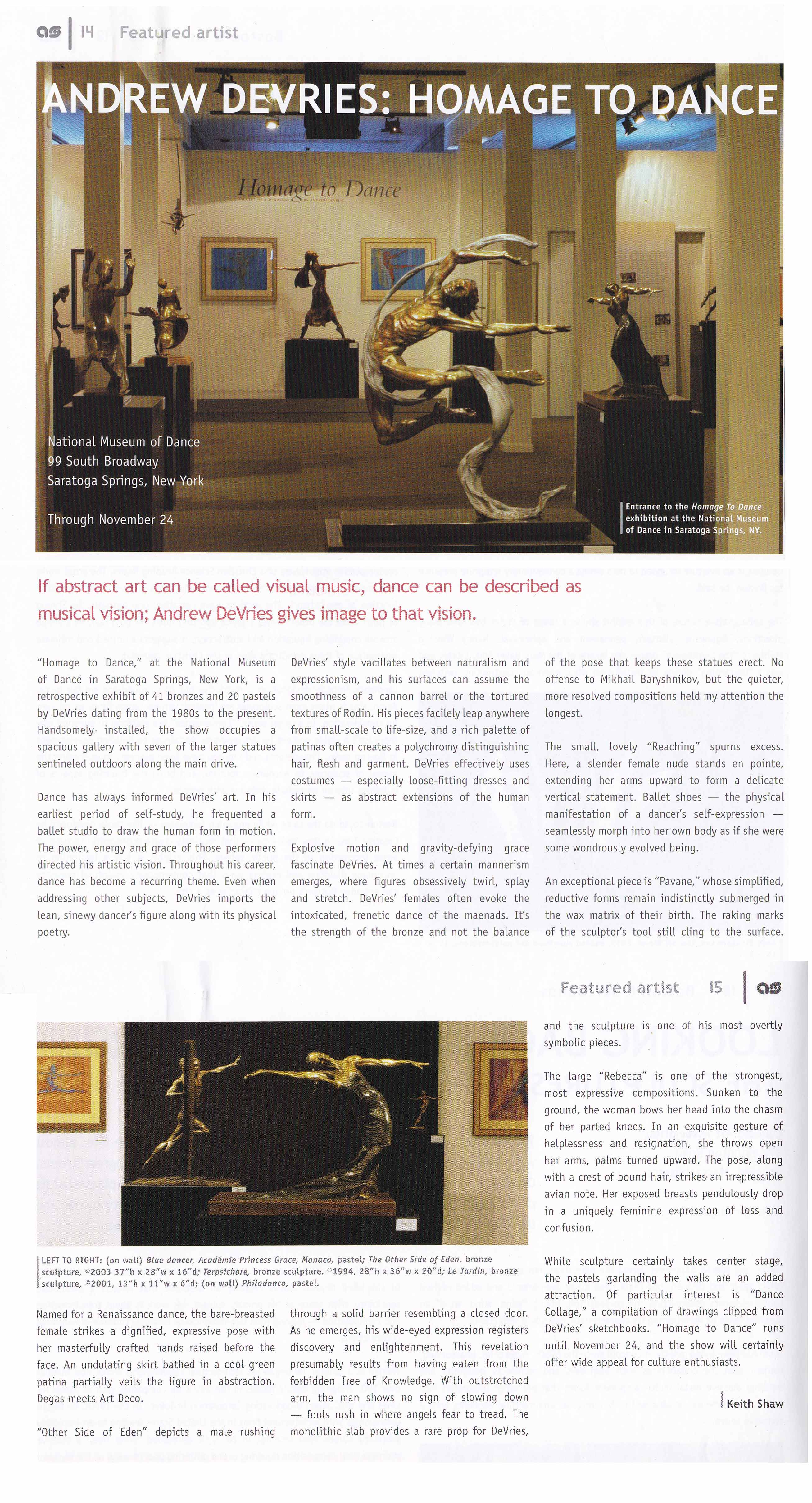 artscope magazine review of Homage to Dance exhibition 2013 by Kieth Shaw