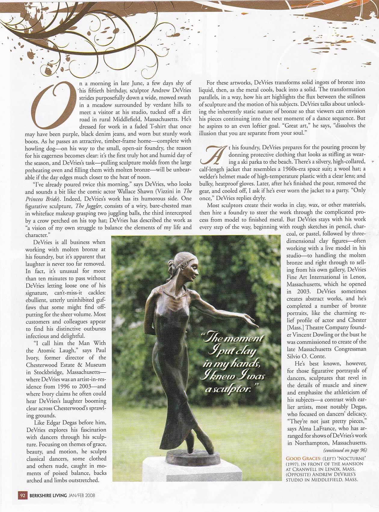 Berkshire Living Magazine January/February 2008 page 92