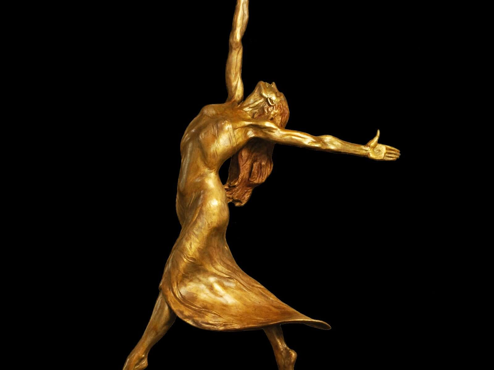I am the Wind bronze female ballet dancer by sculptor Andrew DeVries edition sold out , available to commission larger.