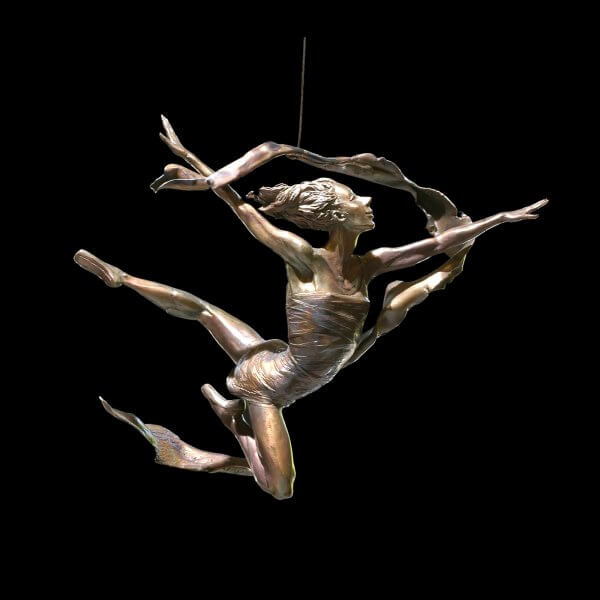 Into the Light hanging female ballet bronze dance dancer by Andrew DeVries. Edition sold out but available to commission larger