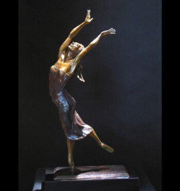 Ode to Joy a female ballet dance sculpture by Andrew DeVries copyrighted. Edition is sold out but it is available to commission in a larger version.
