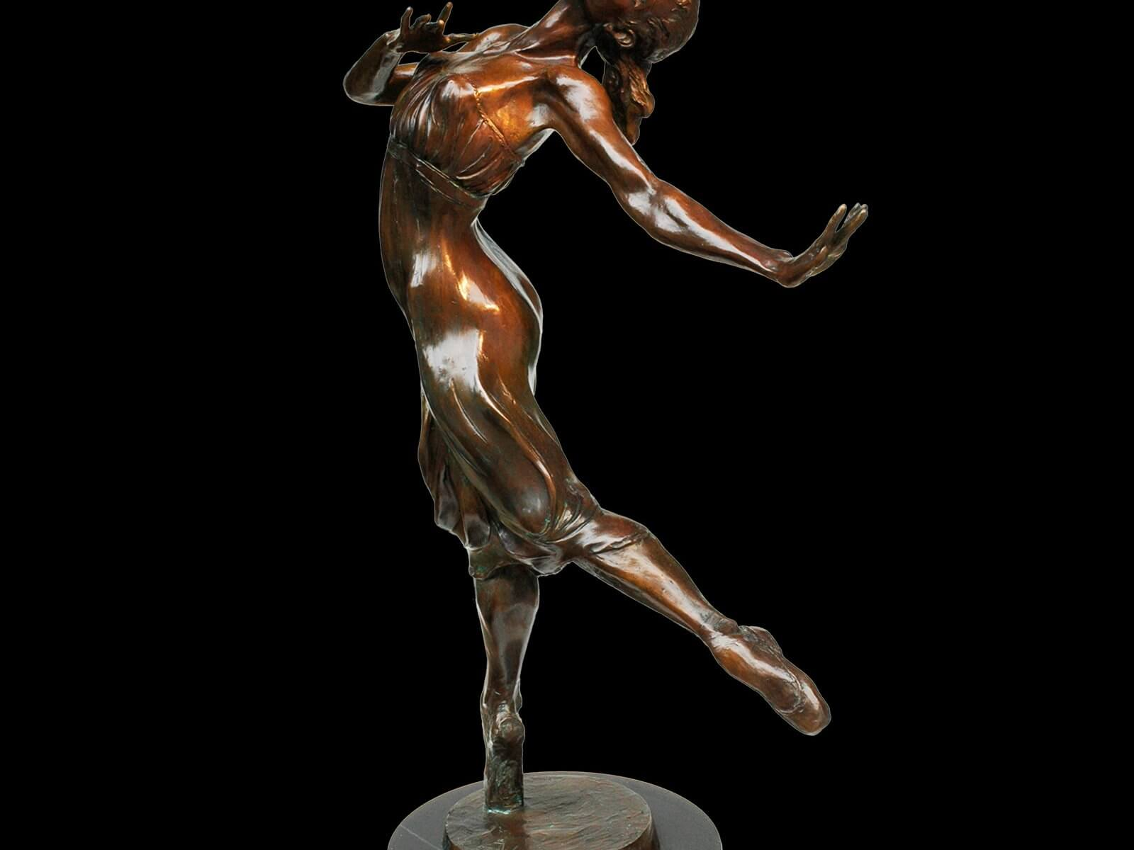 Sonata bronze female ballet dance sculpture by Andrew DeVries copyright 2003. Edition is sold out it is available to commission in a larger version.