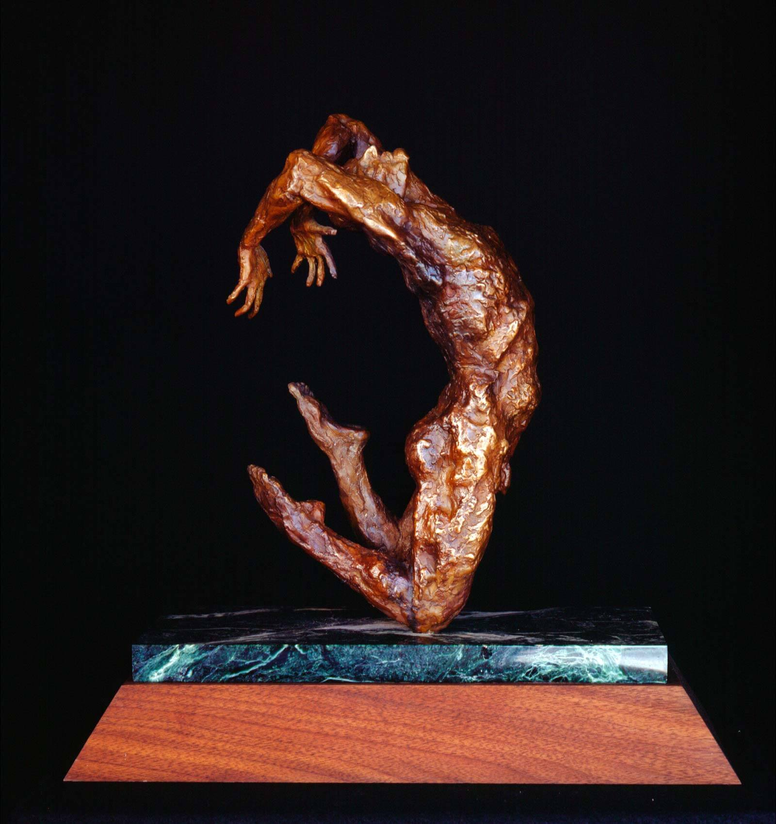 The Jump male bronze dance sculpture by Andrew DeVries. edition sold out but available to commission larger.
