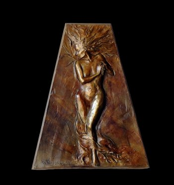 Tuscan Venus female bronze nude relief by Andrew DeVries copyright 2009, edition is sold out but it is available to commission in a larger version.