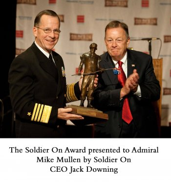 Soldier On Award commissioned by Jack Downing CEO of Soldier On. Created and cast by Sculptor Andrew DeVries at his studio in Middlefield, MA. The award is presnted to Admiral mike Mullen