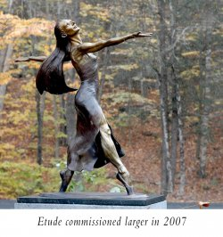 Etude a female bronze ballet dance sculpture by Andrew DeVries edition sold out commissioned in a larger version edition of 12 copyright 2007