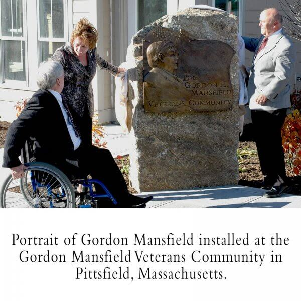 A bronze relief portrait of Gordon Mansfield commissioned by Soldier On. Installed at the Gordon Mansfield Veterans Community in Pittsfield, MA in 2010
