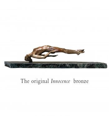Innocence female bronze nude sculpture edition created by Andrew DeVries edition sold out and commissioned in a larger version in 2009.