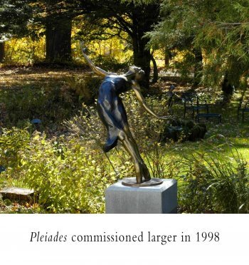 Pleiades a Female Bronze Dance Figurative Outdoor Garden Sculpture by Andrew DeVries commissioned from a smaller version copyright 1998