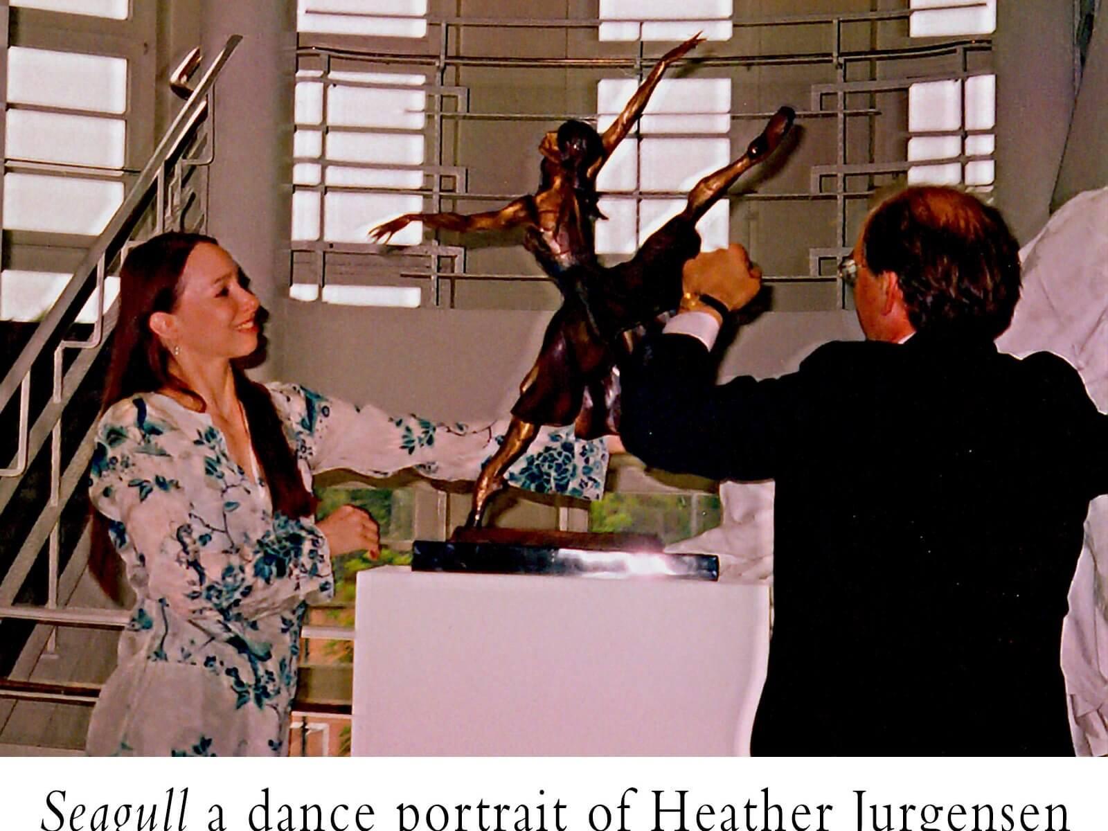Seagull a bronze female dance bronze sculpture, portrait of Heather Jurgensen by Andrew DeVries installed at the Hamburg Ballet Center, Hamburg, Germany