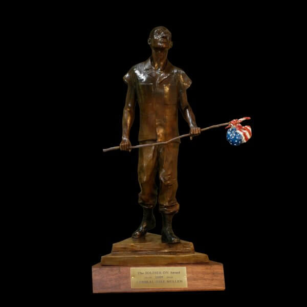 Soldier On Award commissioned by Jack Downing CEO of Soldier On. Created and cast by Sculptor Andrew DeVries at his studio in Middlefield, MA.