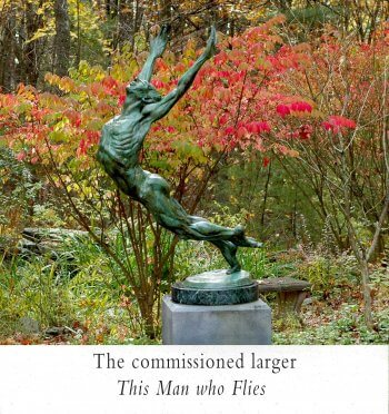 This Man who Flies a large male outdoor dance sculpture by Andrew DeVries commissioned from a smaller version copyright 2001 edition of 12