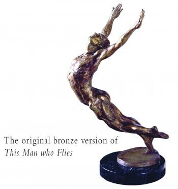 This Man who Flies a bronze male dance sculpture created by Andrew DeVries edition sold out commissioned larger in 2001 as an outdoor sculpture.