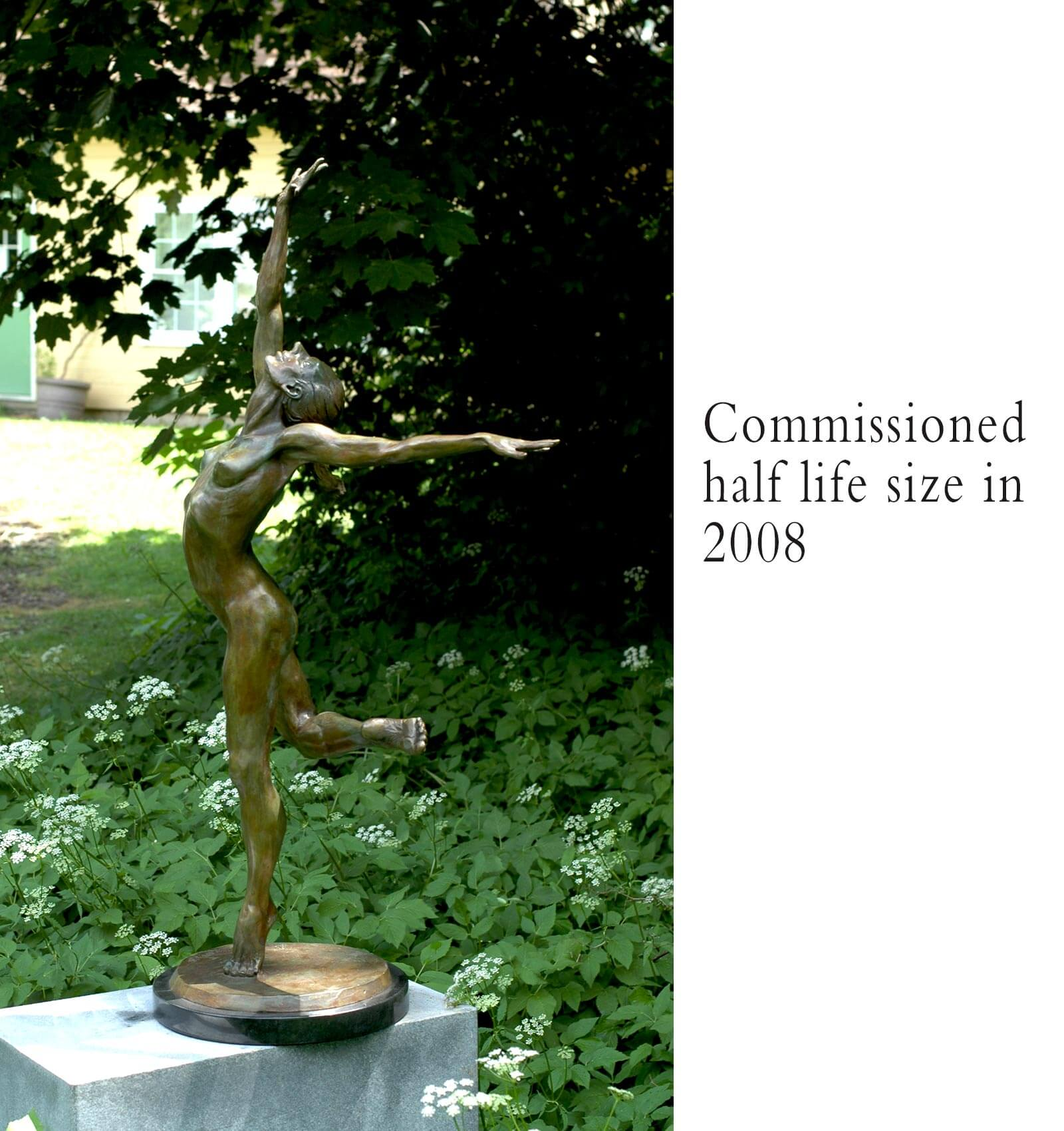 Sparrow bronze female nude dace sculpture by Andrew DeVries commissioned as half life size copyright 2008 available for purchase.