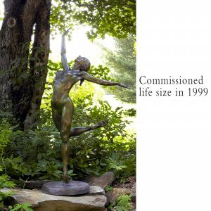 Sparrow bronze female nude dance sculpture by Andrew DeVries commissioned as life size copyright 1999 available for purchase.