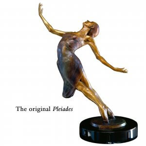 Pleiades a bronze female ballet dance sculpture by Andrew DeVries. Edition sold out. Commissioned in a larger version in 1999.