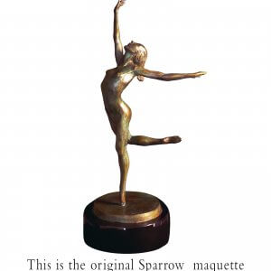Sparrow a female nude dance sculpture by Andrew DeVries the edition is closed out . It has been commissioned in a half life and life size version which is available for purchase