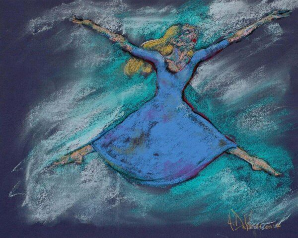 Hallelujah a dance pastel painting of a modern dancer by Andrew DeVries. Created from a sketch done in a dance studio. Copyright 2017