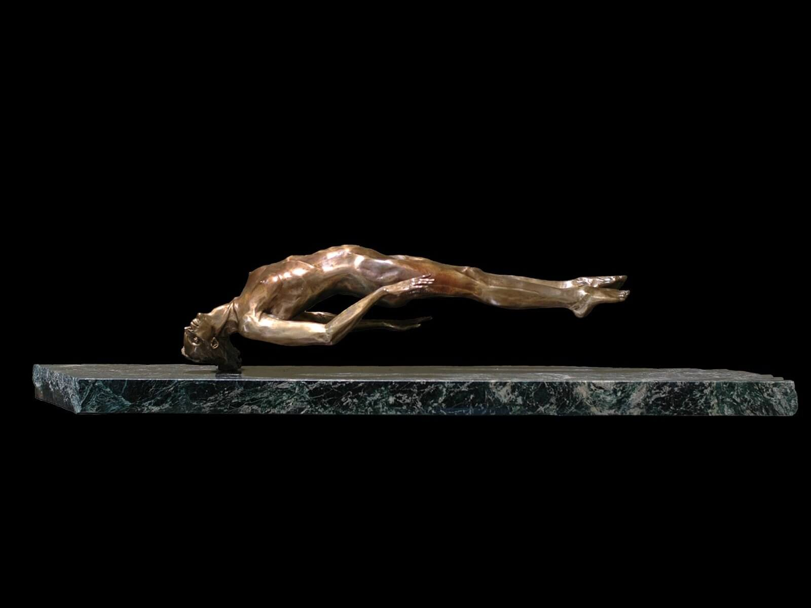 Innocence a bronze figurative sculpture created by Andrew DeVries in 1993. Edition sold out. Commissioned larger in 2009 created